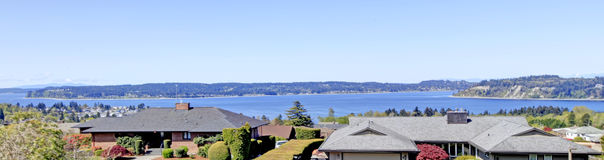 Stunning panoramic view  from a backyard porch Royalty Free Stock Photography