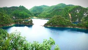 Stunning panoramic view of Cinco Lagos Lagoon stock video footage