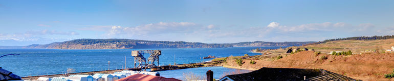 Stunning panoramic view on the mountains and bay from a backyard Royalty Free Stock Photography