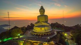 Stunning panoramic view Phuket white big Buddha landmark of Phuket island. Can see from distance. Phuket Big Buddha statue is one of the island most important stock photos