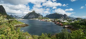 Stunning panoramic view of Reine and Lofoten Islands landscape in summer stock image