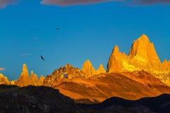 Fiery sunset illuminates the cliffs Fitz Roy. The stunning Patagonia. Fiery sunset illuminates the spectacular cliffs Fitz Roy Stock Image