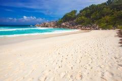 Stunning Petite Anse bach at La Digue island, Seychelles Stock Image