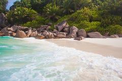 Stunning Petite Anse bach at La Digue island, Seychelles Stock Images