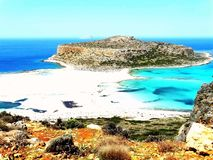 Stunning pink-blue beach and hiking landscape in Balos, Crete, Greece. stock photography