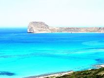 Stunning pink-blue beach and hiking landscape in Balos, Crete, Greece. royalty free stock photography