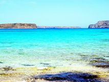 Stunning pink-blue beach and landscape in Balos, Crete, Greece. stock images
