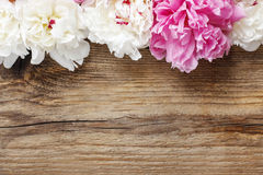 Stunning pink peonies, yellow carnations and roses. On rustic wooden background. Copy space Royalty Free Stock Image