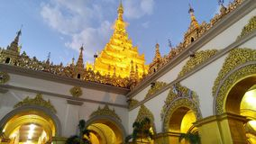 Stunning point. The golden pagoda in Myanmar temple in the morning Royalty Free Stock Photography