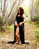 Stunning pregnant woman in fall pose Royalty Free Stock Photography