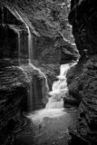 Stunning Rainbow Falls. Located in Watkins Glen NY, this stunning trail takes you through Watkins Glen State Park. There are several styles of waterfalls which royalty free stock photos