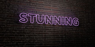 STUNNING -Realistic Neon Sign on Brick Wall background - 3D rendered royalty free stock image. Can be used for online banner ads and direct mailers Royalty Free Stock Photography