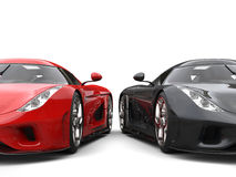 Stunning red and black supercars beauty closeup shot Stock Photography