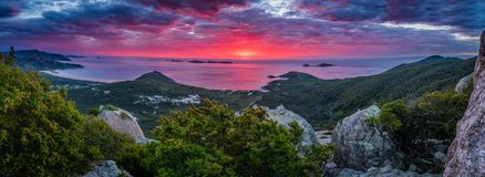 Stunning red and pink sunset in Wilsons promontory national park Stock Photos