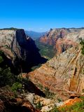View of Mountains from Canyon Overlook Trail in Zion. The stunning red rock mountain view taken from the end of the Canyon Overlook Trail at Zion National Park stock photos