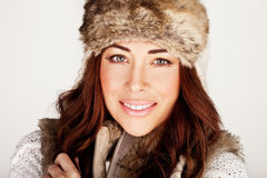 Stunning Redhead In Winter Fur Hat Stock Images