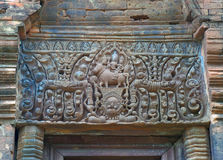 Stunning relief of the door lintel at Prasat Hin Muang Tam, the ancient temple complex in Buriram Province Stock Image