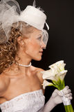 Stunning retro bride profile Royalty Free Stock Photography