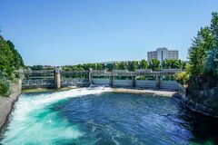 The Rivers Sparkling Waters. The stunning Riverfront Park in Spokane Washington shows off the sparkling waters of the Spokane River Royalty Free Stock Photos