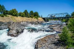 The Rivers Sparkling Waters. The stunning Riverfront Park in Spokane Washington shows off the sparkling waters of the Spokane River royalty free stock photo