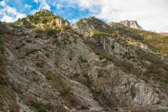 Stunning rocky peaks in the Albanian Alps. Space for text Stock Image