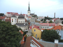 Stunning Rooftop View of Tallinn Old Town with St. Olaf's Church, Estonia Stock Image
