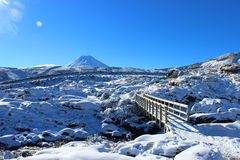 Stunning Ruapehu volcano with countryside in winter. Stunning Ruapehu volcano whole under snow in winter time during beautiful sunny day in Tongariro National Stock Photos