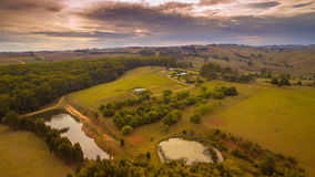 Stunning rural farmland, Australia. Sunset evening scenic aerial view of farmland in South Gippsland, Victoria, Australia Royalty Free Stock Image