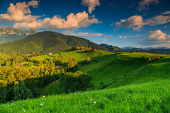 Stunning rural landscape near Bran,Transylvania,Romania,Europe. Summer alpine landscape with green fields and high mountains,Bran,Transylvania,Romania,Europe Royalty Free Stock Photo