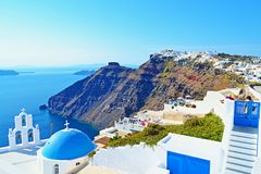 Stunning Santorini island landscape architecture scene Cyclades Greece Stock Photos