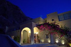 Santorini picturesque villa before dawn Stock Image