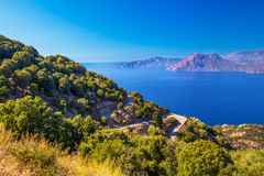 Stunning scenery of D81 road, Corsica, France Royalty Free Stock Image