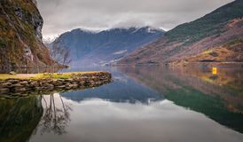 View of norwegian fiord and mountains Royalty Free Stock Photo