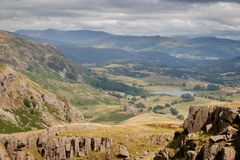Stunning scenic view from Wrynose Pass in Cumbria, Lake District. National Park. One of the highest mountain passes in England stock photography