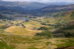 Stunning scenic view from Wrynose Pass in Cumbria, Lake District. National Park. One of the highest mountain passes in England royalty free stock photo