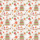 Stunning seamless pattern with happy birthday. Balloon,gift and cake Stock Photo