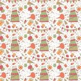 Stunning seamless pattern with happy birthday Stock Photo