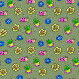 Stunning seamless pattern with insects in flowers in vector. Awe. Some cartoon seamless pattern for childish designs Stock Photography