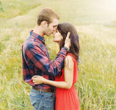 Stunning sensual outdoor portrait of young attractive couple in Stock Photos
