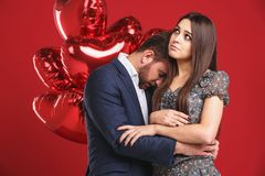 Stunning sensual portrait of young sad couple Stock Image