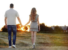 Stunning sensual young couple posing in summer field at the suns Royalty Free Stock Photo