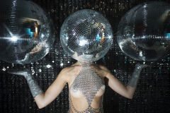 Stunning sexy discoball head woman Stock Images