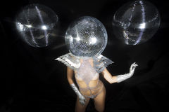 Stunning sexy discoball head woman Royalty Free Stock Image
