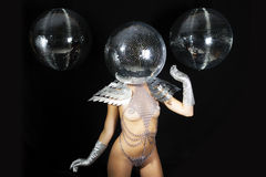 Stunning sexy discoball head woman Stock Photography