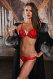 Stunning sexy girl standing in fashionable red lingerie and luxury fur coat and looking at you. Royalty Free Stock Photo