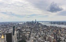 Beautiful aerial view of the Manhattan Island skyline stock photography