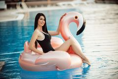 Stunning woman is wearing black bikini sitting in swimming pool with blue water on a pink flamingo mattress, summer stock photography