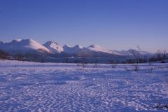 Stunning snowy landscape in Norway stock photography