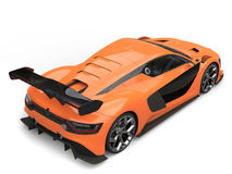 Stunning sports car - willpower orange and black colors - back view Stock Image