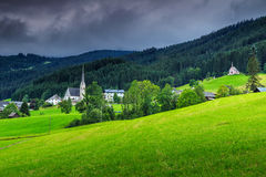 Stunning spring landscape with dark clouds,Gosau,Austria,Europe Stock Photos